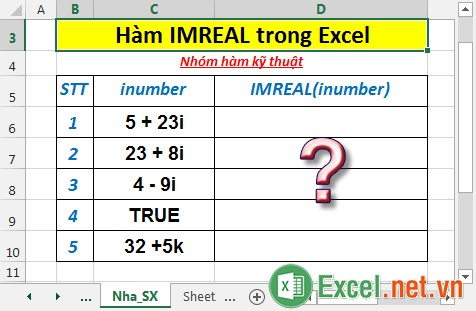 Hàm IMREAL trong Excel