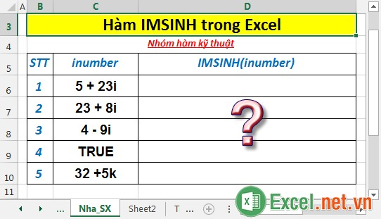 Hàm IMSINH trong Excel